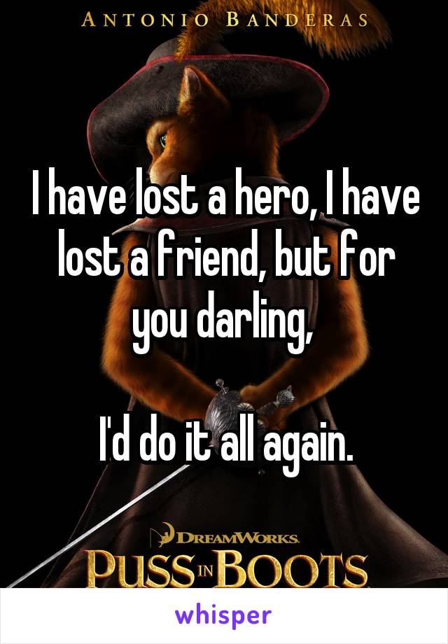 I have lost a hero, I have lost a friend, but for you darling,   I'd do it all again.
