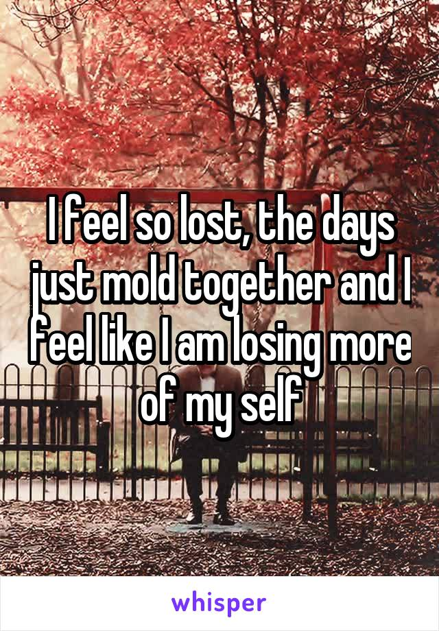 I feel so lost, the days just mold together and I feel like I am losing more of my self
