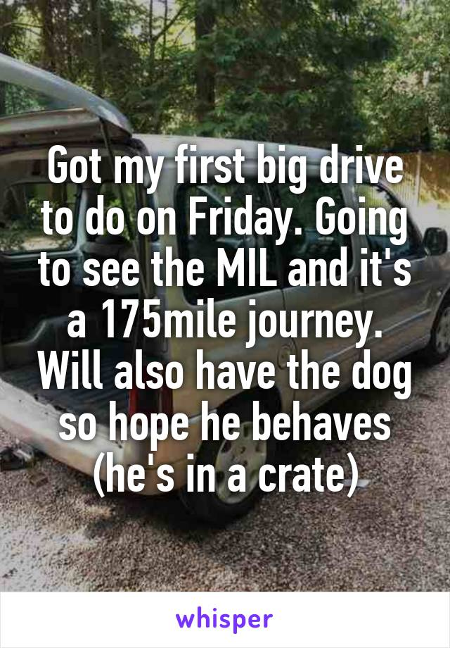 Got my first big drive to do on Friday. Going to see the MIL and it's a 175mile journey. Will also have the dog so hope he behaves (he's in a crate)