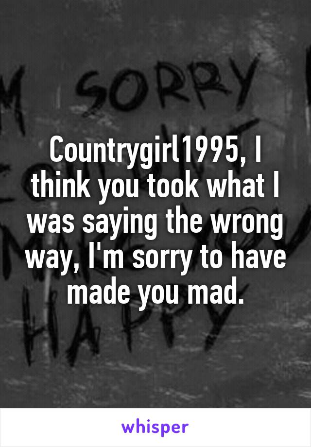 Countrygirl1995, I think you took what I was saying the wrong way, I'm sorry to have made you mad.