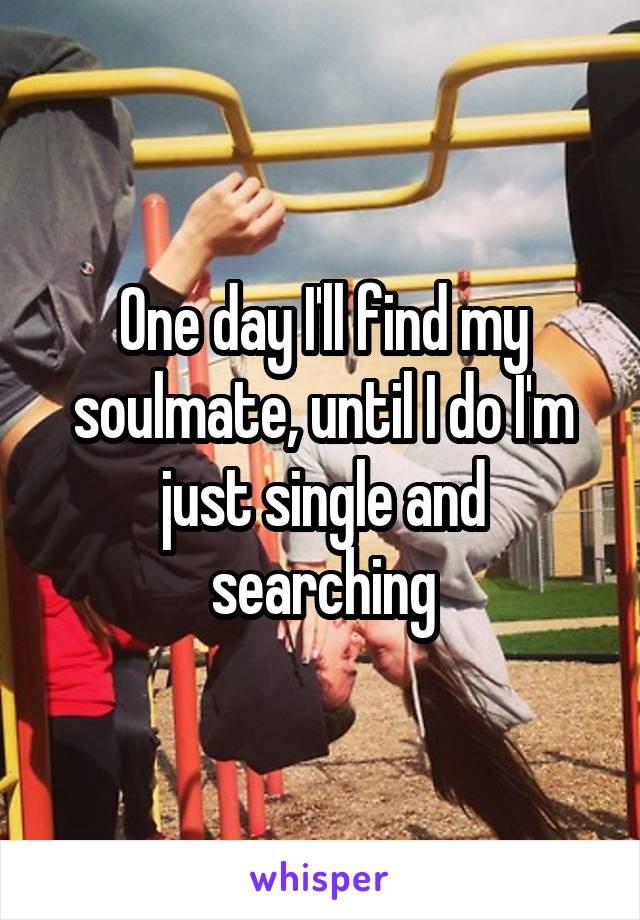 One day I'll find my soulmate, until I do I'm just single and searching