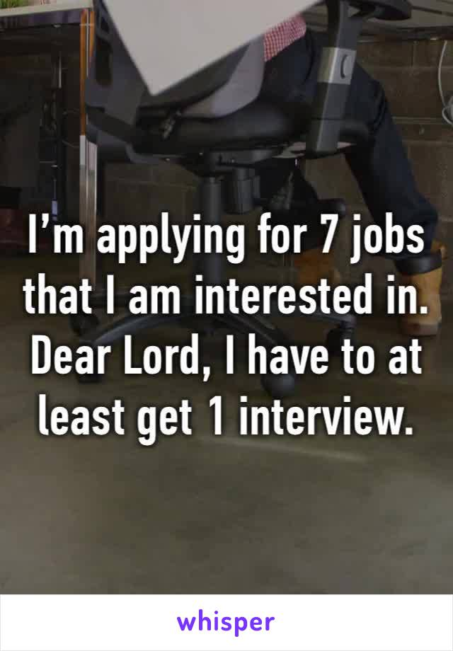 I'm applying for 7 jobs that I am interested in.  Dear Lord, I have to at least get 1 interview.