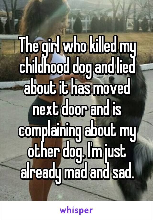 The girl who killed my childhood dog and lied about it has moved next door and is complaining about my other dog. I'm just already mad and sad.