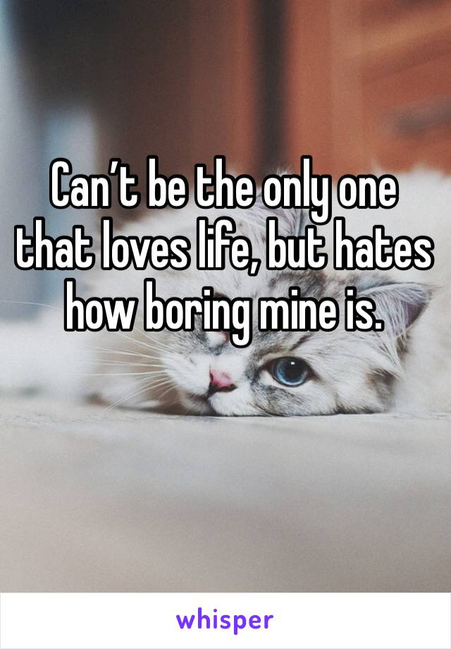 Can't be the only one that loves life, but hates how boring mine is.