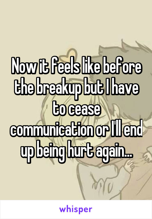 Now it feels like before the breakup but I have to cease communication or I'll end up being hurt again...