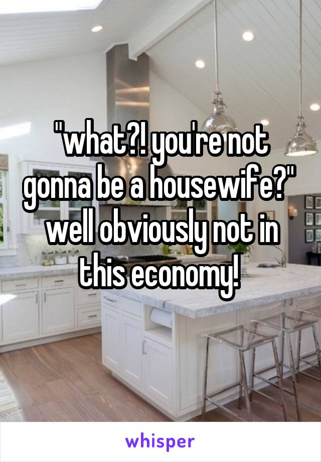 """what?! you're not gonna be a housewife?""  well obviously not in this economy!"