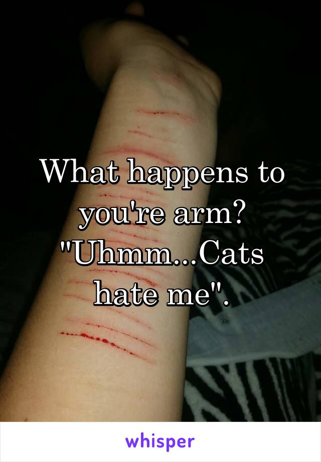 """What happens to you're arm? """"Uhmm...Cats hate me""""."""