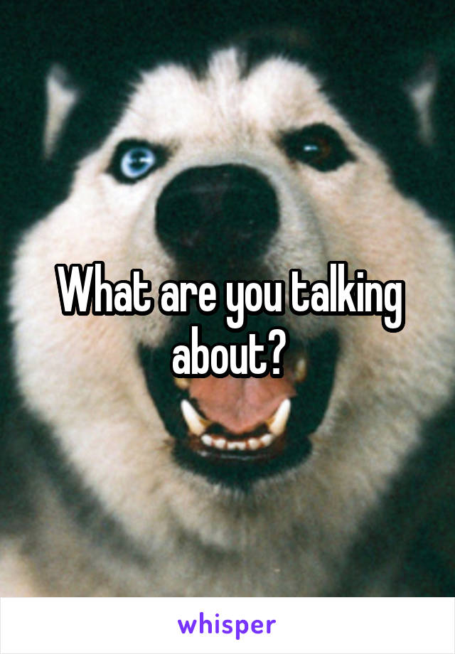 What are you talking about?