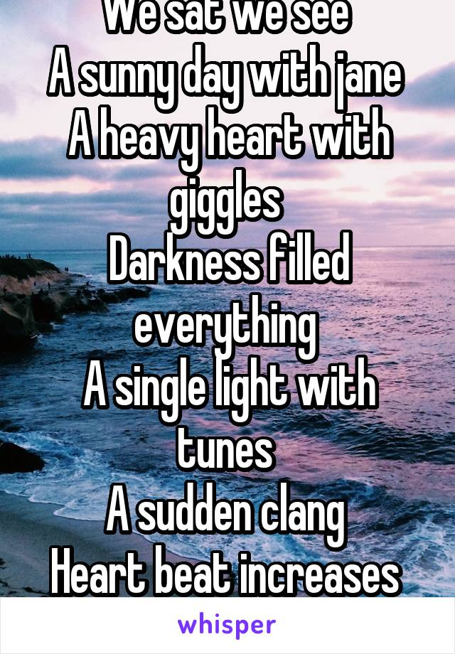 We sat we see  A sunny day with jane  A heavy heart with giggles  Darkness filled everything  A single light with tunes  A sudden clang  Heart beat increases  Stand by.