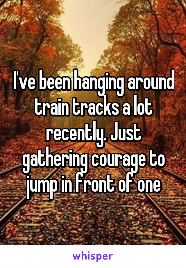 I've been hanging around train tracks a lot recently. Just gathering courage to jump in front of one