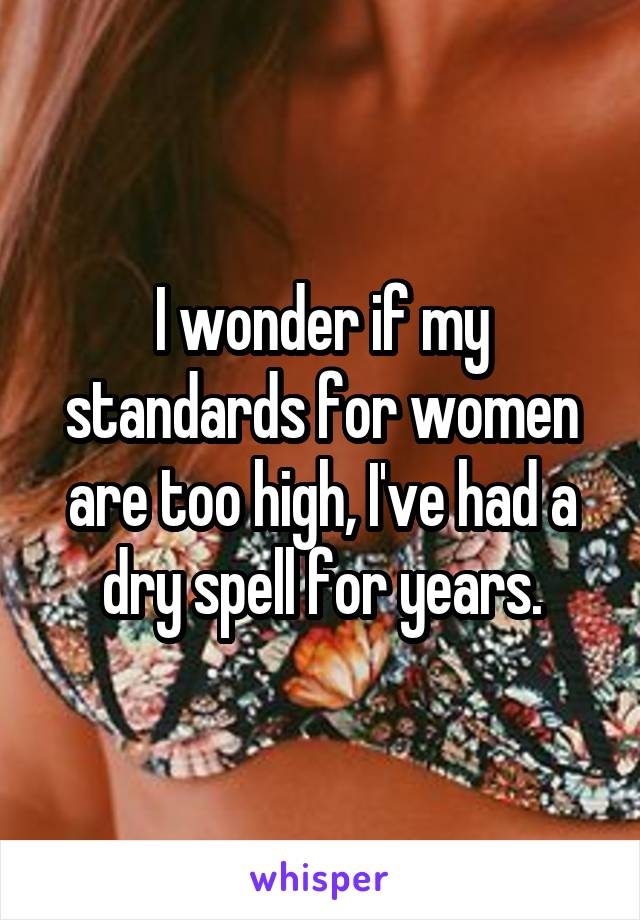 I wonder if my standards for women are too high, I've had a dry spell for years.