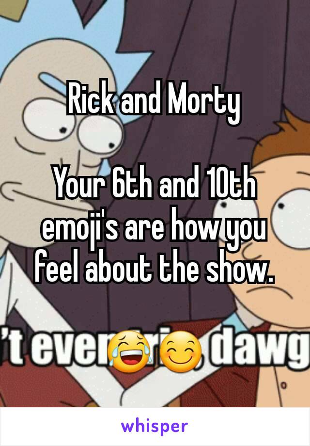 Rick and Morty  Your 6th and 10th emoji's are how you feel about the show.  😂😊