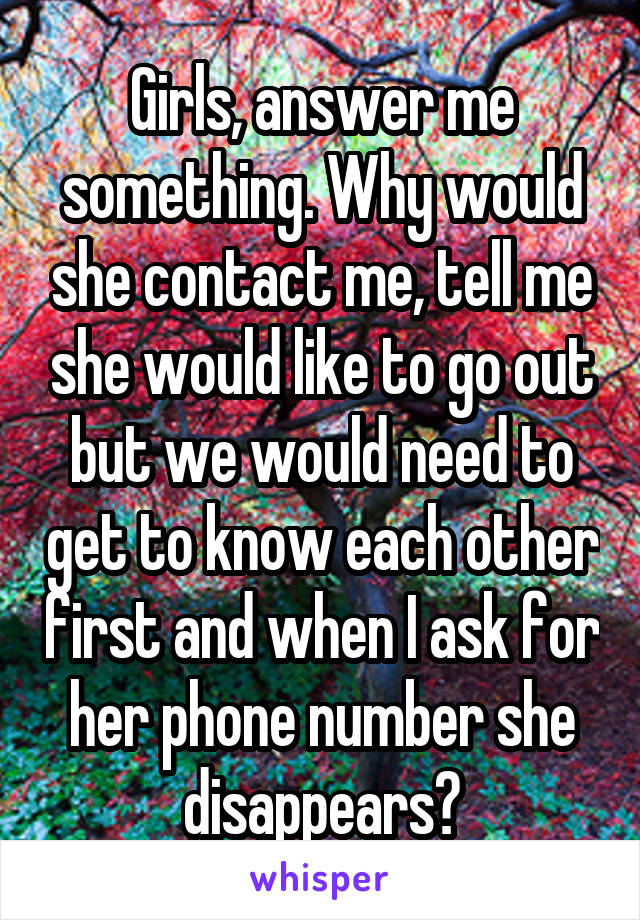 Girls, answer me something. Why would she contact me, tell me she would like to go out but we would need to get to know each other first and when I ask for her phone number she disappears?