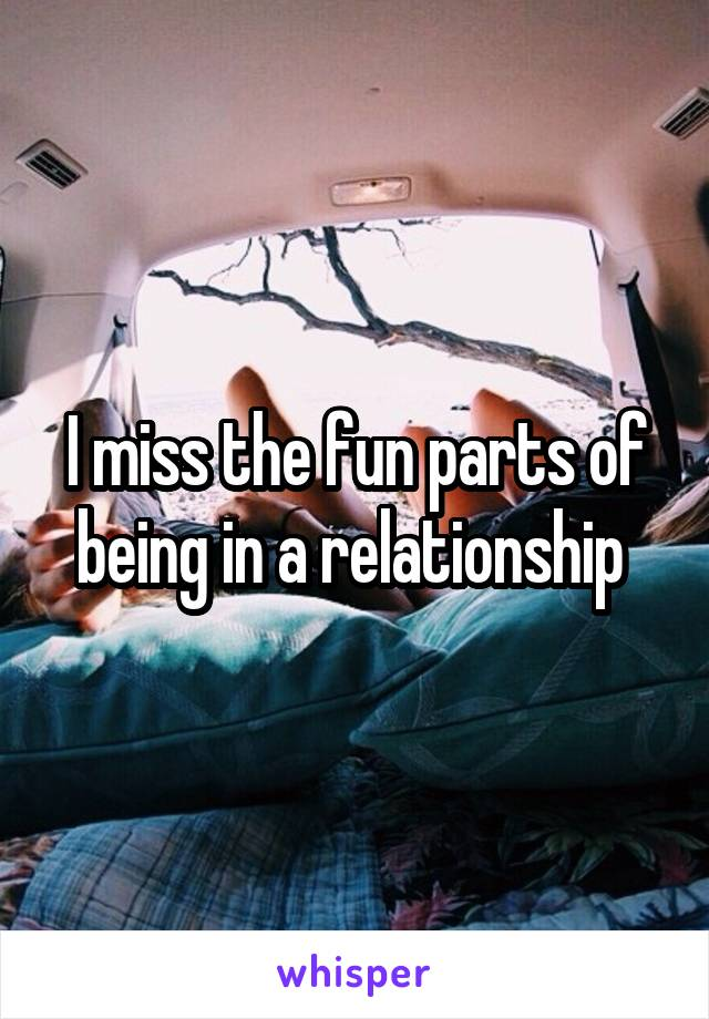 I miss the fun parts of being in a relationship
