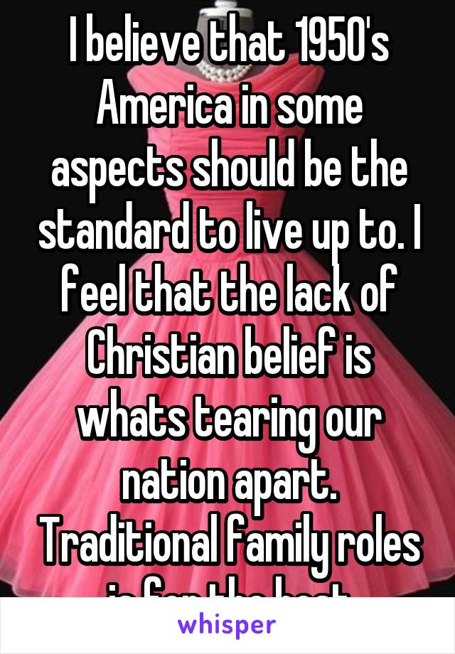 I believe that 1950's America in some aspects should be the standard to live up to. I feel that the lack of Christian belief is whats tearing our nation apart. Traditional family roles is for the best