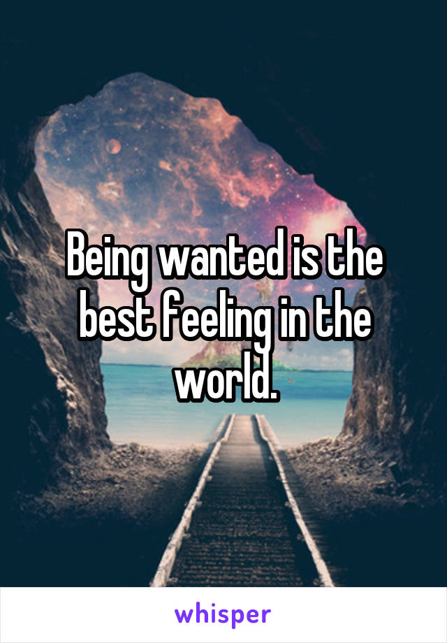 Being wanted is the best feeling in the world.