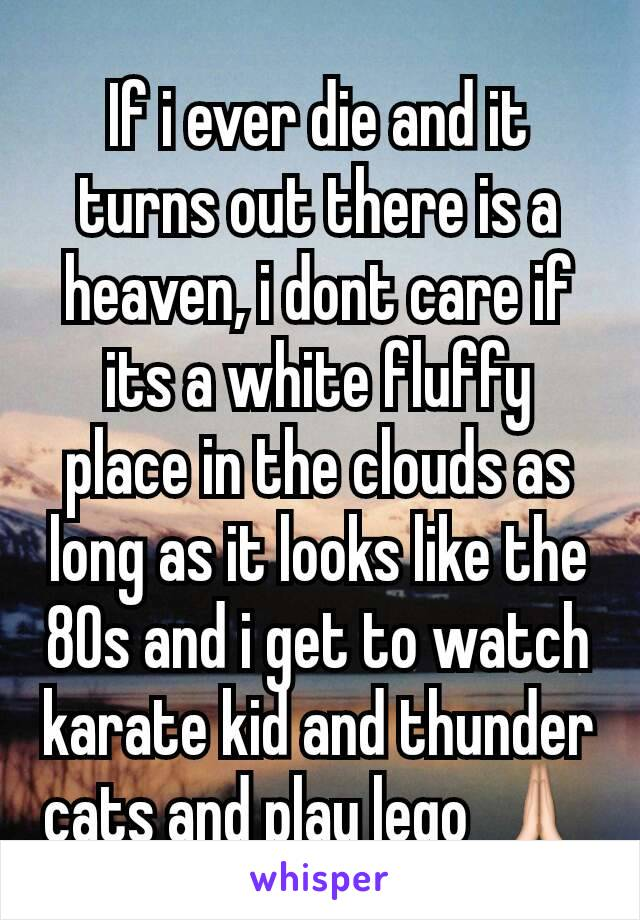If i ever die and it turns out there is a heaven, i dont care if its a white fluffy place in the clouds as long as it looks like the 80s and i get to watch karate kid and thunder cats and play lego 🙏