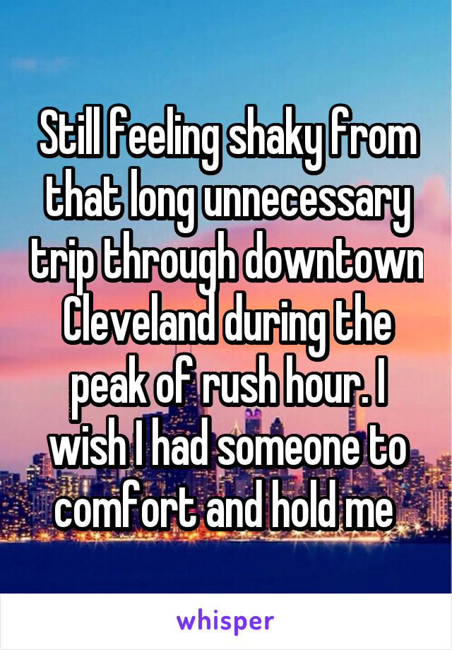 Still feeling shaky from that long unnecessary trip through downtown Cleveland during the peak of rush hour. I wish I had someone to comfort and hold me
