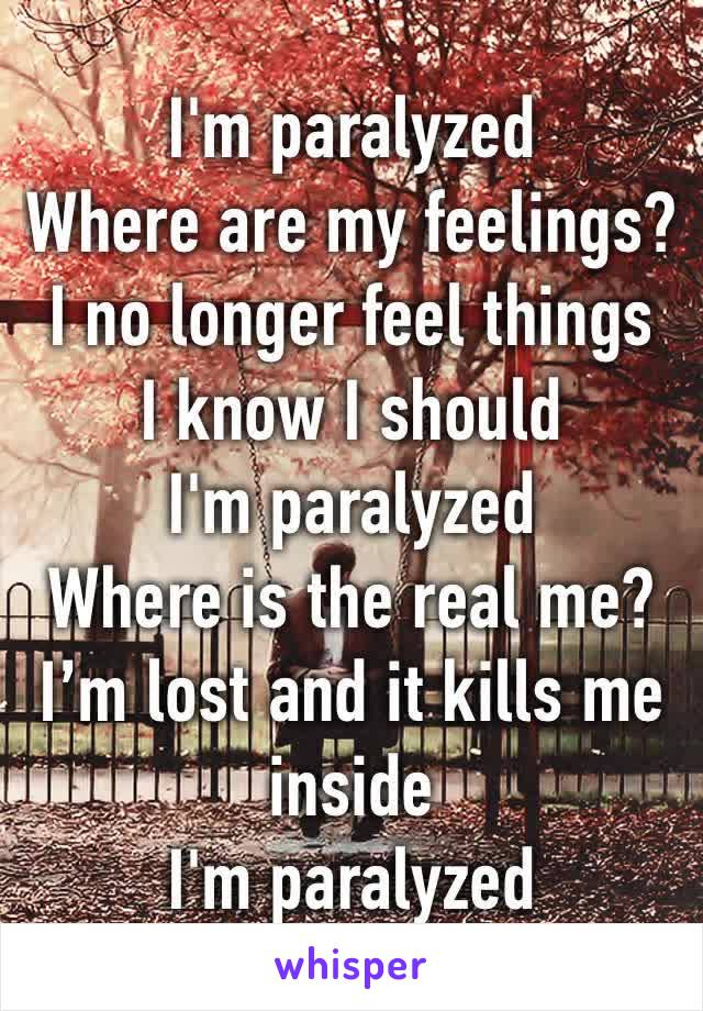 I'm paralyzed Where are my feelings? I no longer feel things I know I should I'm paralyzed Where is the real me? I'm lost and it kills me inside I'm paralyzed
