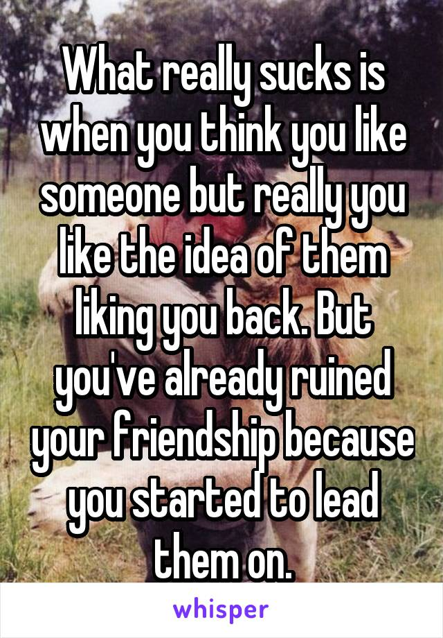 What really sucks is when you think you like someone but really you like the idea of them liking you back. But you've already ruined your friendship because you started to lead them on.