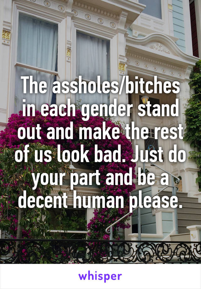 The assholes/bitches in each gender stand out and make the rest of us look bad. Just do your part and be a decent human please.