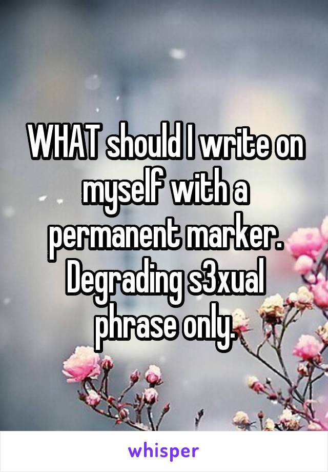 WHAT should I write on myself with a permanent marker. Degrading s3xual phrase only.