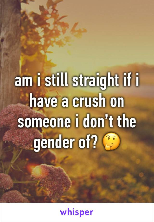 am i still straight if i have a crush on someone i don't the gender of? 🤔