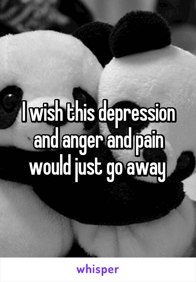 I wish this depression and anger and pain would just go away