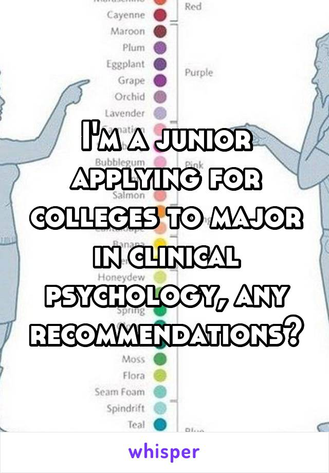 I'm a junior applying for colleges to major in clinical psychology, any recommendations?