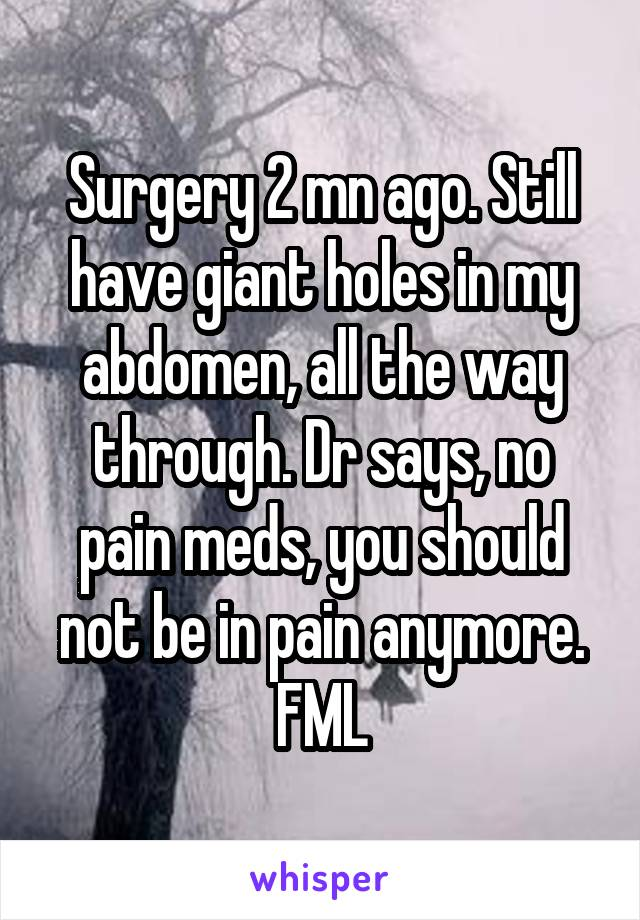 Surgery 2 mn ago. Still have giant holes in my abdomen, all the way through. Dr says, no pain meds, you should not be in pain anymore. FML