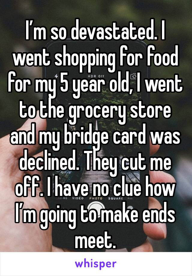 I'm so devastated. I went shopping for food for my 5 year old, I went to the grocery store and my bridge card was declined. They cut me off. I have no clue how I'm going to make ends meet.