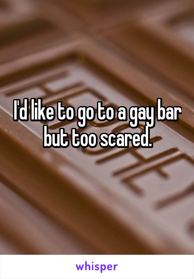 I'd like to go to a gay bar but too scared.
