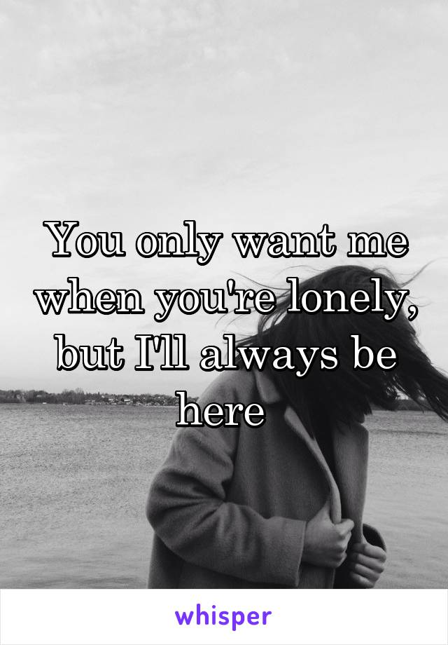 You only want me when you're lonely, but I'll always be here