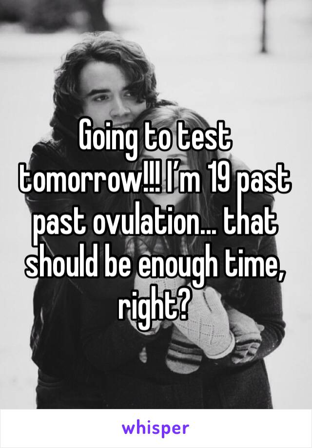Going to test tomorrow!!! I'm 19 past past ovulation... that should be enough time, right?