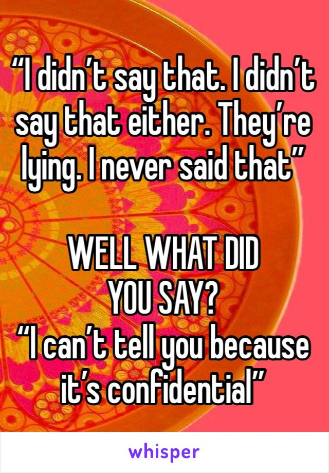 """""""I didn't say that. I didn't say that either. They're lying. I never said that""""  WELL WHAT DID YOU SAY? """"I can't tell you because it's confidential"""""""