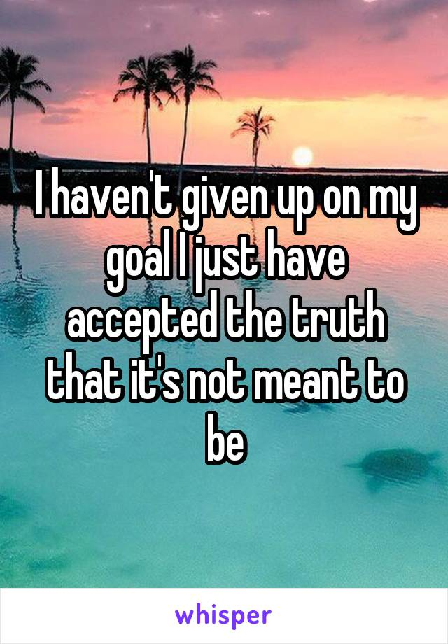 I haven't given up on my goal I just have accepted the truth that it's not meant to be