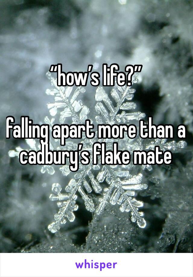 """how's life?""   falling apart more than a cadbury's flake mate"