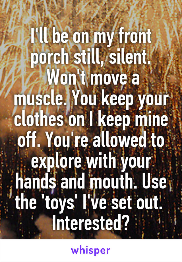 I'll be on my front porch still, silent.  Won't move a muscle. You keep your clothes on I keep mine off. You're allowed to explore with your hands and mouth. Use the 'toys' I've set out.  Interested?