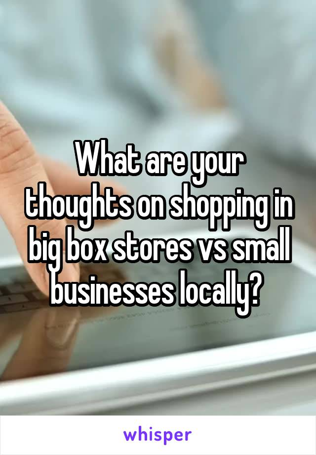 What are your thoughts on shopping in big box stores vs small businesses locally?