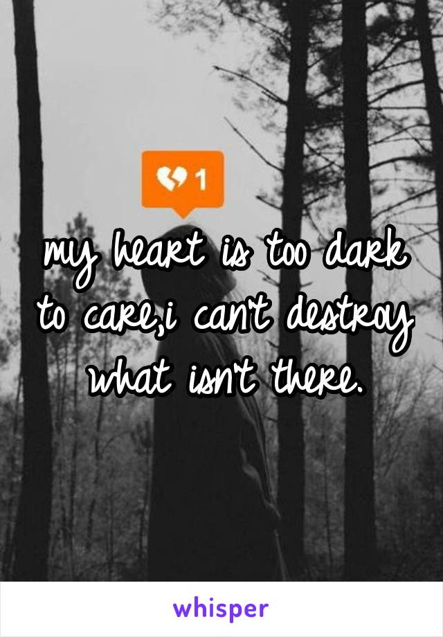 my heart is too dark to care,i can't destroy what isn't there.