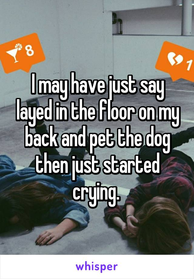 I may have just say layed in the floor on my back and pet the dog then just started crying.