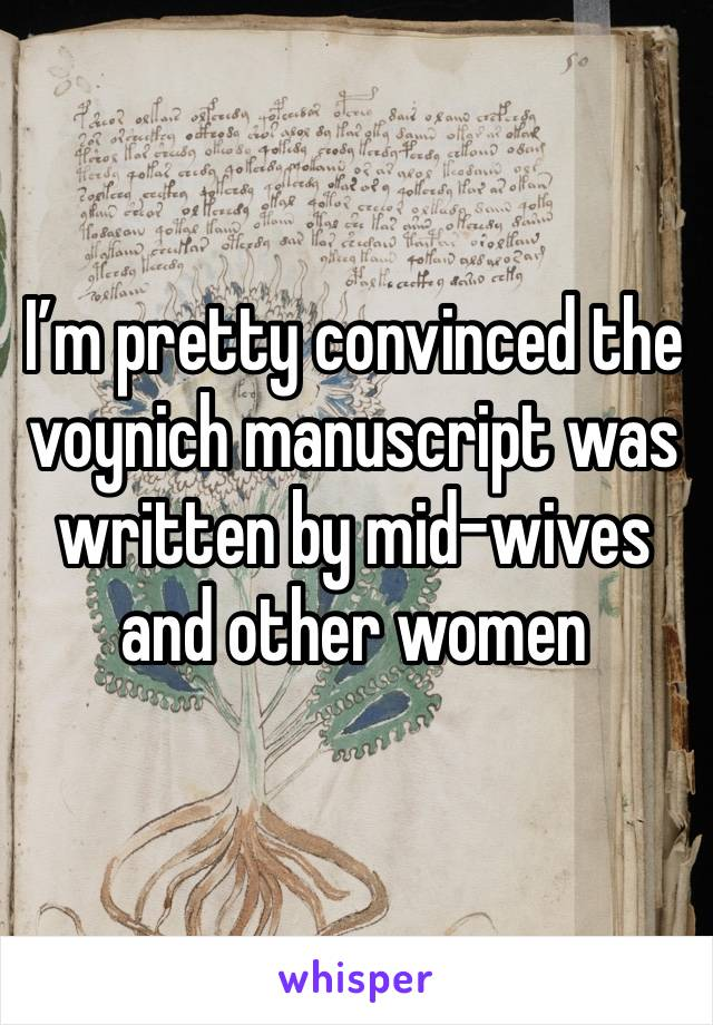 I'm pretty convinced the voynich manuscript was written by mid-wives and other women