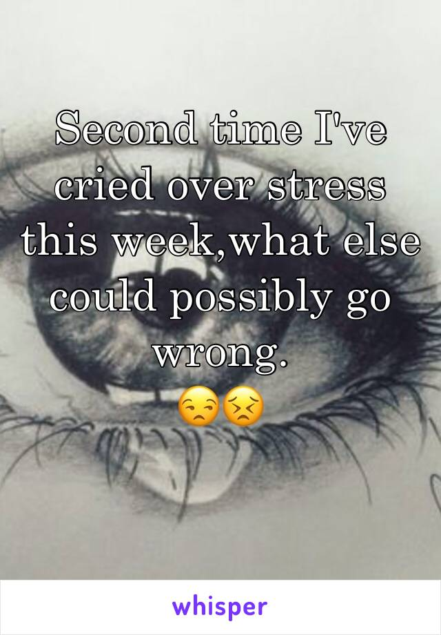Second time I've cried over stress this week,what else could possibly go wrong.  😒😣