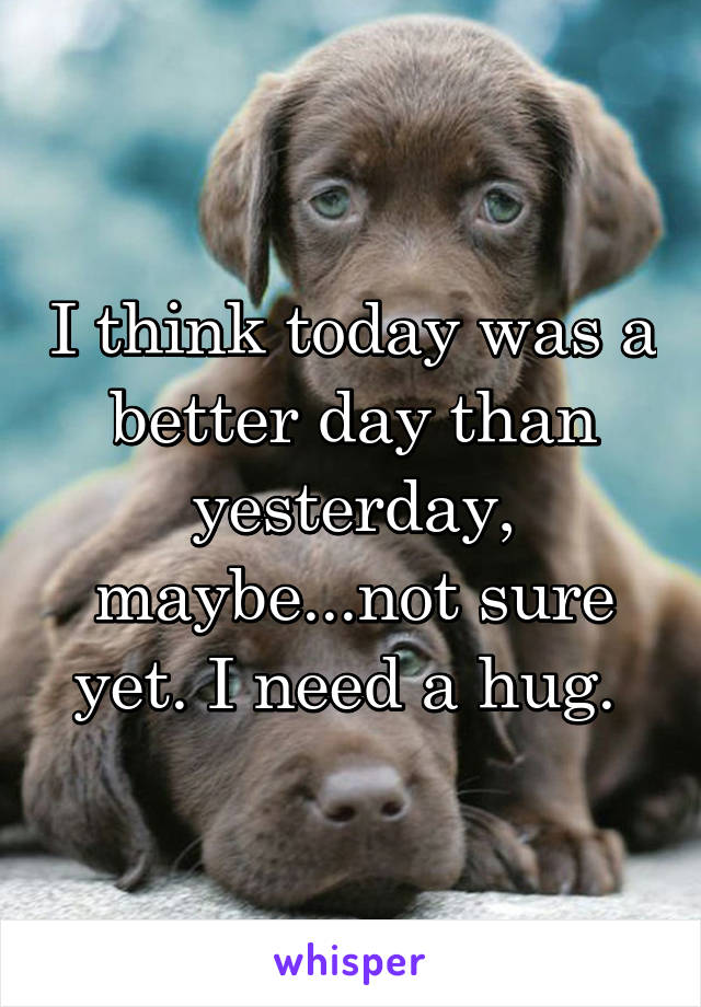 I think today was a better day than yesterday, maybe...not sure yet. I need a hug.
