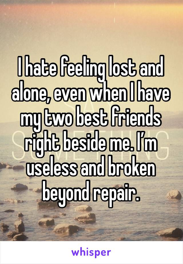 I hate feeling lost and alone, even when I have my two best friends right beside me. I'm useless and broken beyond repair.