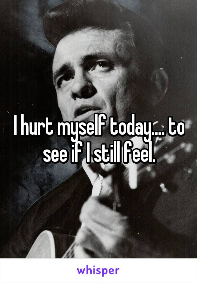 I hurt myself today.... to see if I still feel.
