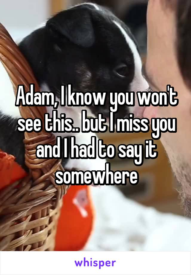 Adam, I know you won't see this.. but I miss you and I had to say it somewhere