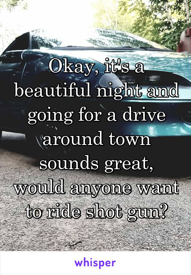 Okay, it's a beautiful night and going for a drive around town sounds great, would anyone want to ride shot gun?