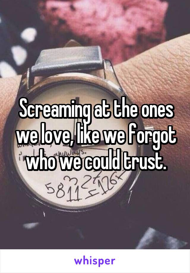 Screaming at the ones we love, like we forgot who we could trust.