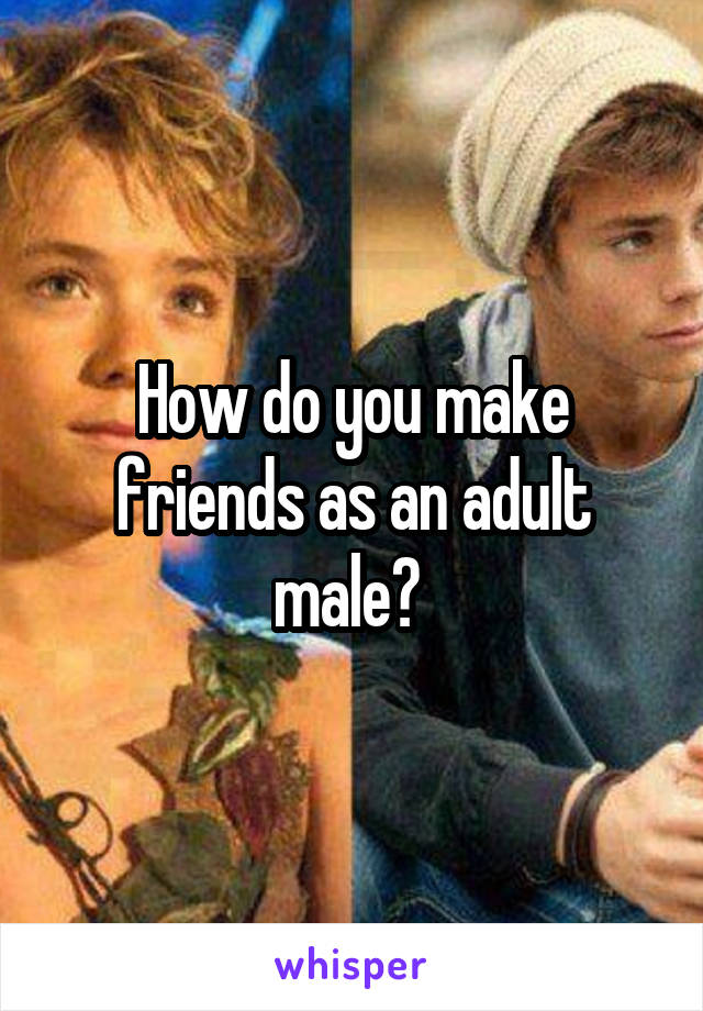 How do you make friends as an adult male?